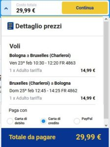 Bologna Bruxelles black friday ryanair