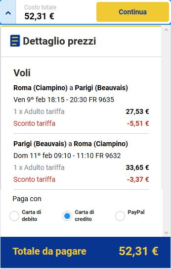 Ryanair volo roma parigi