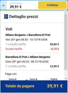 Milano Barcellona Ryanair