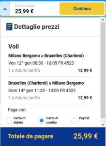 Milano Bruxelles Black Friday Ryanair