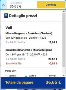 Milano Bruxelles Ryanair