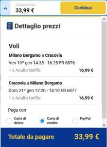 Milano Cracovia Ryanair