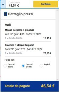 Milano Cracovia Black Friday Ryanair
