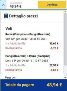 Roma Parigi Ryanair