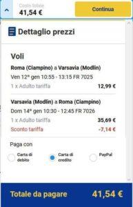 Roma Varsavia Ryanair