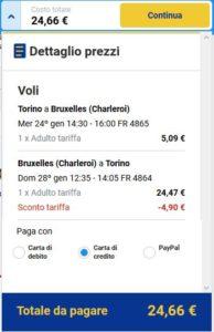 Torino Bruxelles Ryanair