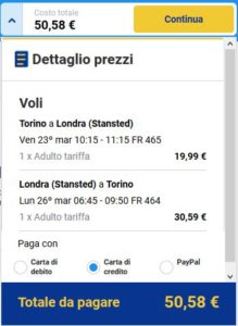 Torino Londra black friday ryanair