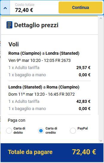 Ryanair volo low cost roma londra 72euro