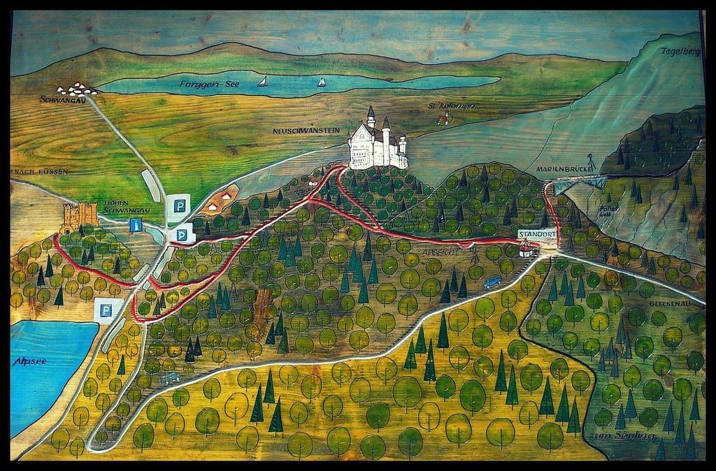 mappa dei dintorni del castello di neuschwanstein