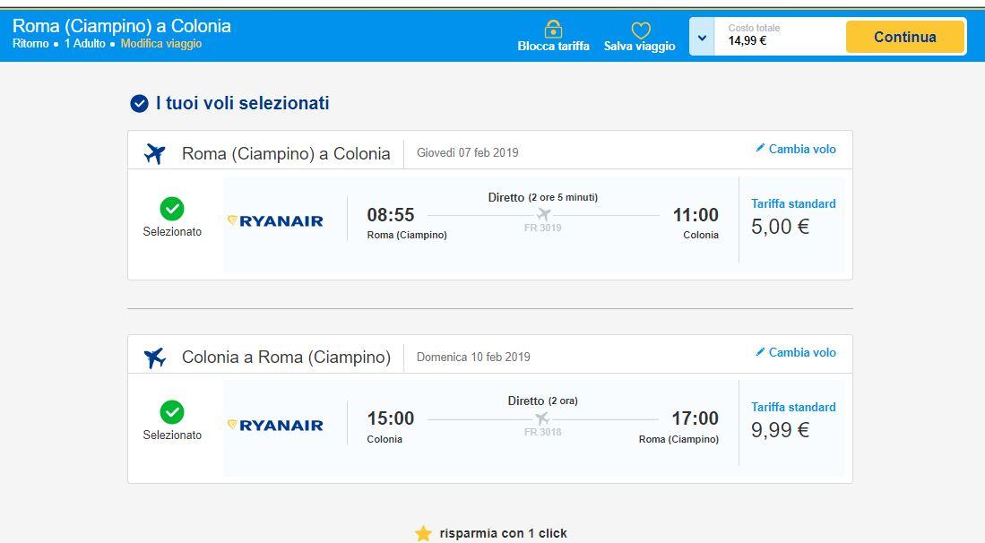 Colonia Black Friday Ryanair 2019